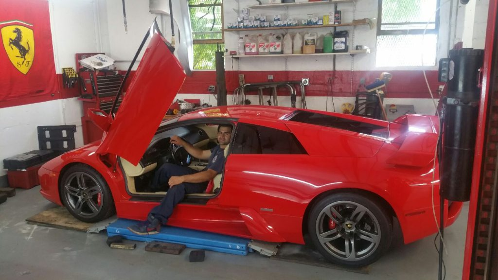 Lamborghini murcielago in for maintenance
