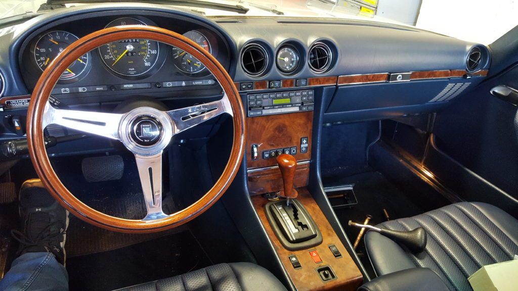 MERCEDES BENZ WITH NARDI STEERING WHEEL AND WOOD SHIFTER
